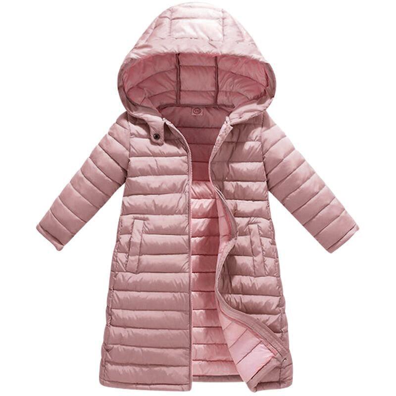 Новый Детский пуховик на осень и зиму пуховик средней длины Детская куртка из плотного бархата длинное теплое пальто