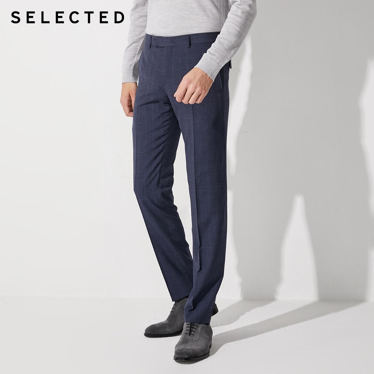 SELECTED Men's Slim Fit Business Casual Plaid Suit Pants SIG|42016A503
