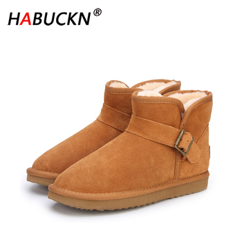 HABUCKN 2020 Top Quality New Fashion Genuine Cowhide Leather Snow Boots Classic Mujer Botas Winter Shoes for Women ankle boots top fashion 2018 real wool botas mujer high quality genuine sheepskin leather snow boots natural fur waterproof women shoes