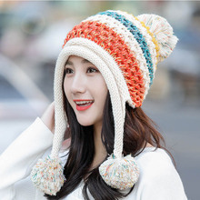 Three Ball Pom Pom hat knitted cap Winter  hat Women ladies hair ball Kitted warm cap Patchwork Color Thicken  hat