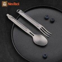 Youpin NexTool fourchette cuillère 2 en 1 pur titane détachable Portable Sports de plein air Camping pique nique vaisselle saine pratique