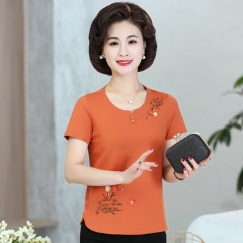 Middle Aged Women Summer Blouses Orange Red Flower Embroidery Buttons Decoration Design Top Female O-neck Short Sleeve Blouse flower embroidery front smock top