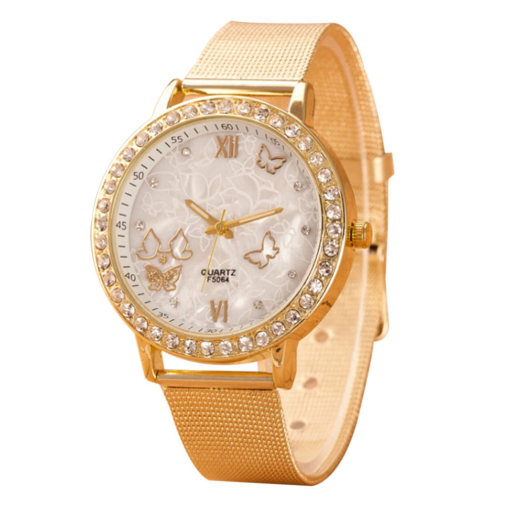 Good Quality Fashion Trend Women's Casual Quartz Watch Mesh Belt Butterfly Rhinestone Wrist Watch Women's Quartz Watch Hot