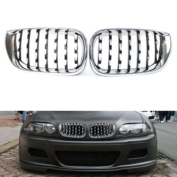 Front Chrome Grill Latest Diamond Metero Style For BMW E46 02-05 3 Series 320i 325i 330i 330xi 325xi 4 Door Sedan Facelift