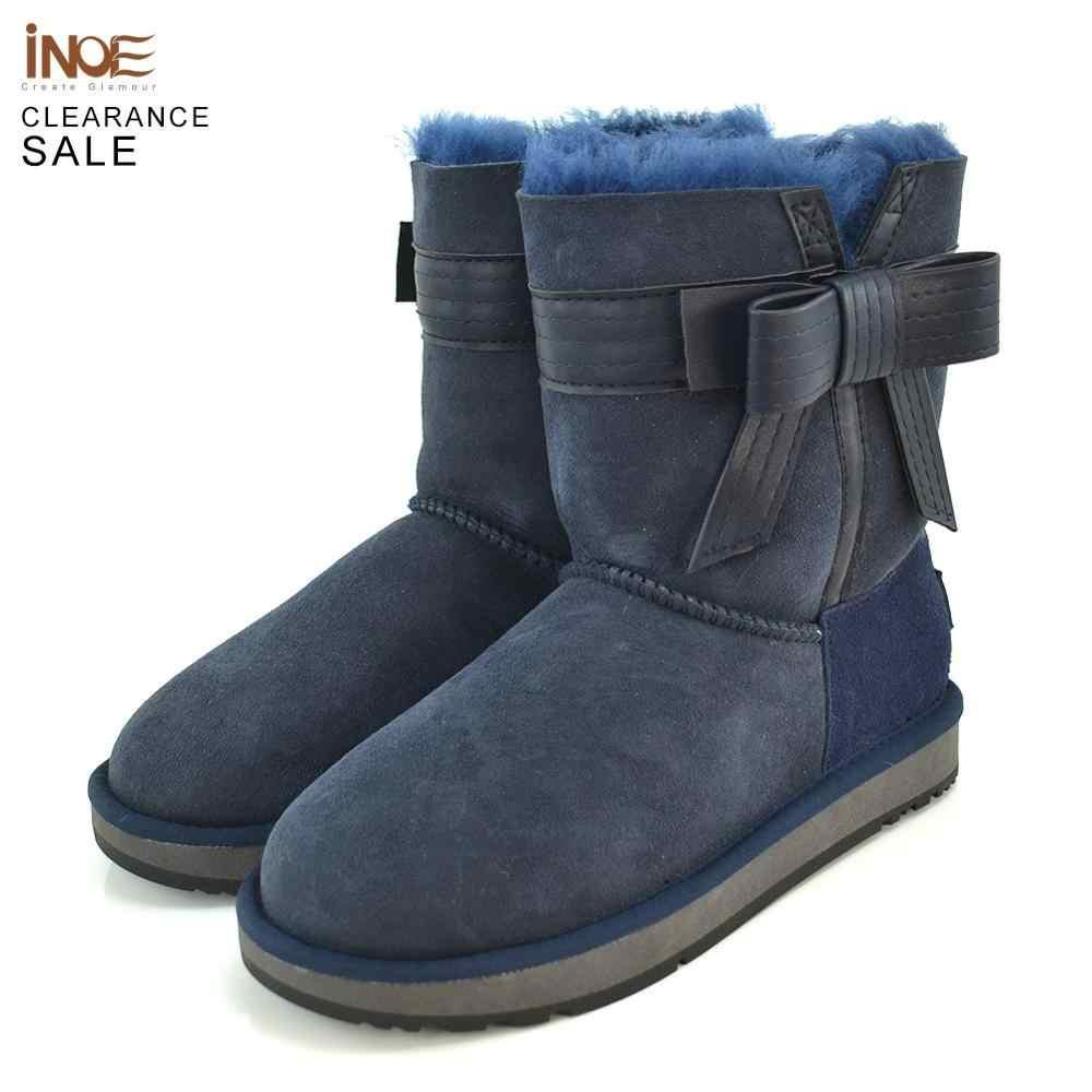 INOE koyun derisi süet deri doğal kürk astarlı moda kadın ayak bileği kışlık botlar kısa kar botları yüksek QualityClearance satış
