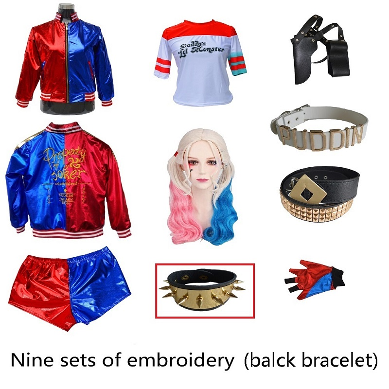 Suicide Squad Cosplay Costumes Girls Kids Woman Harley Quinn Monster T Shirt Top Jacket Pants Wrist Guards Accessories Full Set