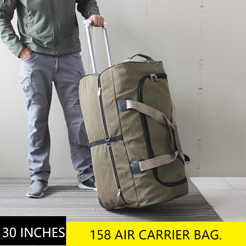 30 Inch Large Capacity Canvas 158 International Air Shipping Package Trolley Luggage Bag 26 Inch Moving Abroad Travel Bag
