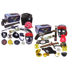 Besegad 16pcs Halloween Party Costume Pirate Theme Party Supplies Kit Compass Telescopes Mask Hook Gun Toys for Kids Accessories