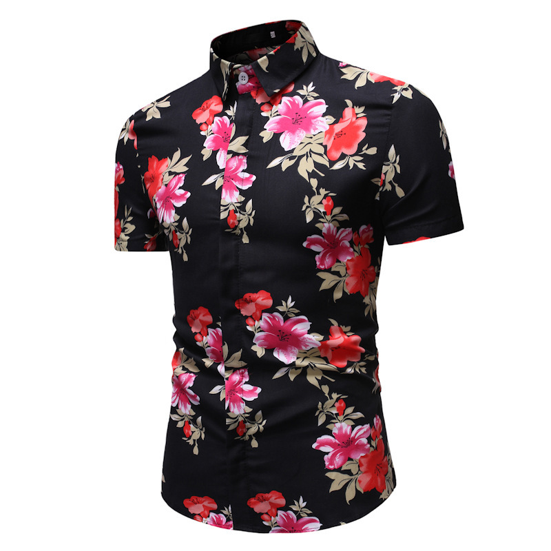 New Summer Mens Shirts Casual Floral Printed Slim Fit Fashion Short Sleeve Shirts For Men