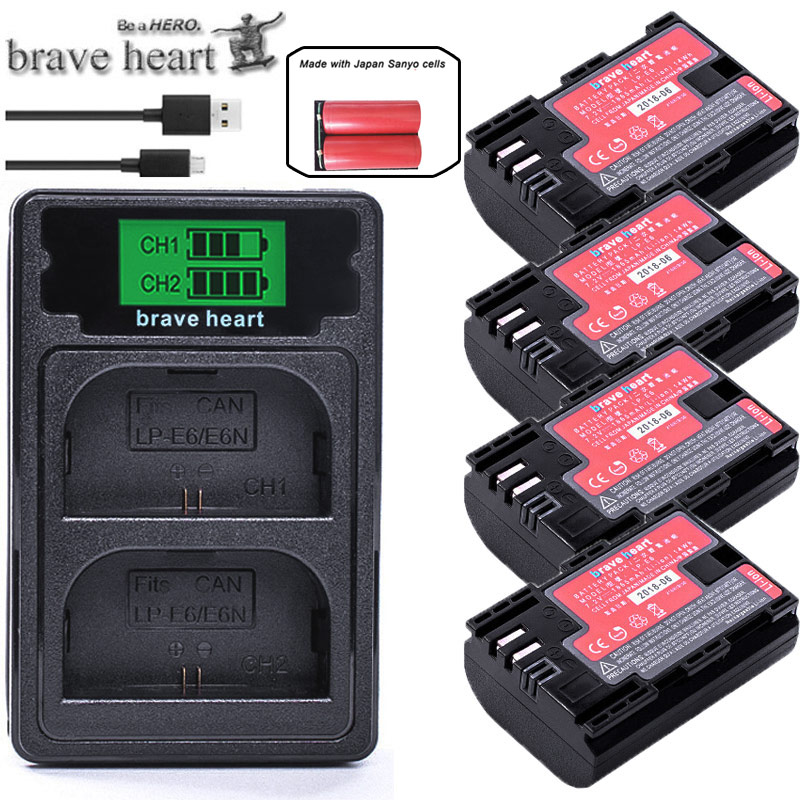 4xJapan Sanyo Cell LP-E6 LP E6 Lpe6 Battery + Dual Charger For Canon EOS 5D 5D2 5DS R Mark II 2 III 6D 60D 60Da 7D 7D2 70D 80D