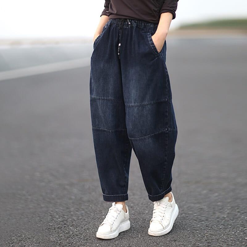 Autumn New Arts Style Women Elastic Waist Loose Jeans All-matched Casual Cotton Denim Harem Pants Plus Size Vintage Jeans S555