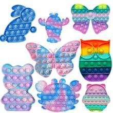 1pc Rainbow zabawki typu Fidget Push Bubble Fidget zabawka sensoryczna autyzm specjalne potrzeby Stress Reliever anty stres gniotki nerwowe tanie tanio CN (pochodzenie) MATERNITY W wieku 0-6m 7-12m 13-24m 25-36m 4-6y 7-12y 12 + y 18 + fidget toys kids fidget toys Sport silicone toys