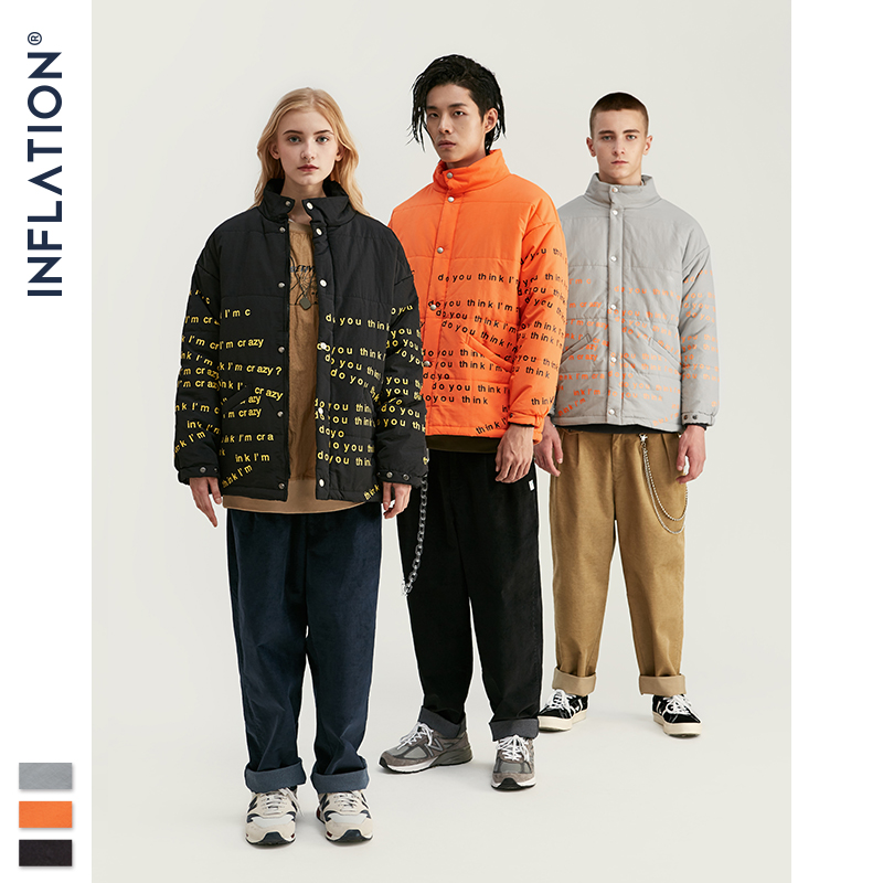 INFLATION 2020 Winter New Men Jacket Fashion Trend Casual Thick Warm Cotton-padded Clothes Loose Fit Coats Warm Jacket 8730W