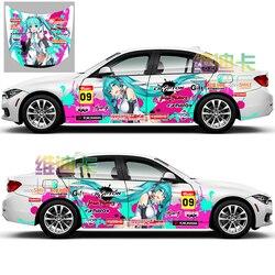Japón Anime vinilo etiqueta engomada del coche de Hatsune Miku de dibujos animados puerta, carrocería calcomanías pegatinas Ralliart en coche vehículo accesorios Hood de la etiqueta engomada