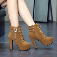 Rimocy 2019 New Autumn Ankle Boots For Women Platform High Heels Shoes Woman Buckle Short Booties Casual Faux Suede Footwear