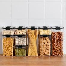 Sugar Storage Box Food Storage Tank Noodle Jar Multigrain Coffee Organizer Container Kitchen Plastic Square Bottle With lid