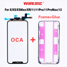 5pcs Original AAA LCD Touch Sensor Glass with Frame+OCA Glue For iPhone X XS MAX XR 11 Promax 12Mini Screen Cover Repairing OLED