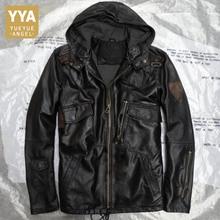 Hooded Black Camouflage Genuine Leather Jackets Man Casual Real Leather Sheepskin Coats Slim Classic Plus Size Sheep Jacket Male
