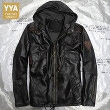 Hooded Zwart Camouflage Echt Lederen Jassen Man Casual Real Leather Schapenvacht Jassen Slanke Klassieke Plus Size Schapen Jas Mannelijke