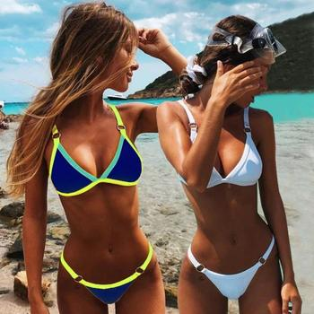 2020 Sexy Thong Micro Bikinis Women Swimsuits Solid Push up Swimwear Female Bikini set Brazilian Biquini Bathing Suit sexy bikinis woman swimsuit mini bikinis women swimwear backless thong beach wear brazilian biquini bathing suit micro bikini