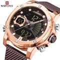 NAVIFORCE часы мужские спортивные кварцевые часы Топ люксовый бренд нержавеющая сталь Водонепроницаемый светодиодный цифровые наручные часы ...