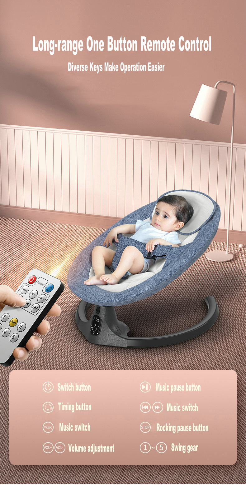H6b329dfb572447ecb95fda39cd7fd6d2M Baby Swing Multifunctional Aluminum Alloy Baby Rocking Chair Electric Baby Cradle With Remote Control Cradle Rocking Chair