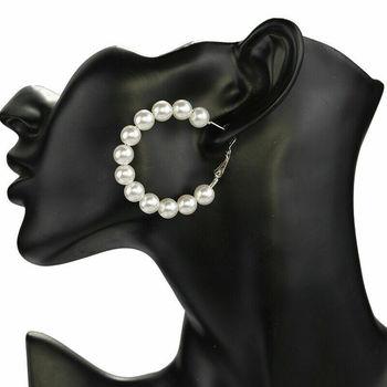 1 Pair Elegant White Pearls Statement Earrings Women Oversize Pearl Circle Ear Rings Earrings 3