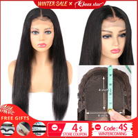 Brazilian 4*4 Lace Closure Wig Straight Human Hair Wigs For Black Women Non Remy Jazz Star 150% Density Lace Wig with Baby Hair