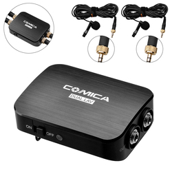 Comica CVM-D03 Dual Lavalier Lapel Microphone with Mono/Stereo Clip-on Interview Microphone for Cameras Camcorders& Smartphones
