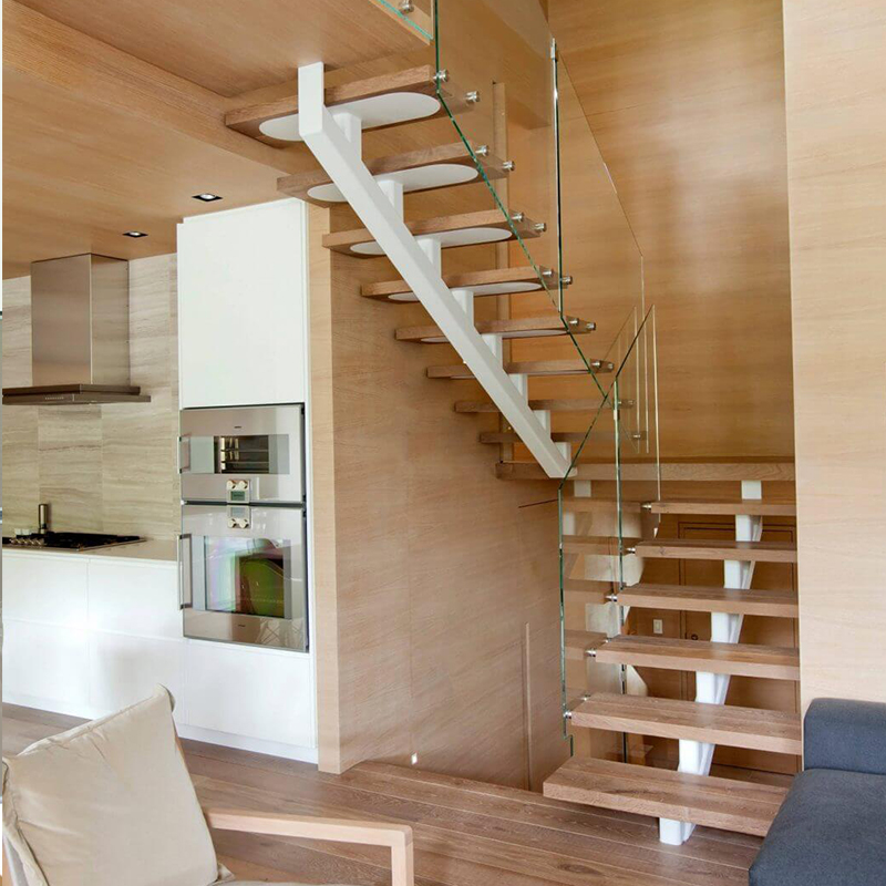 Cheap White Steel Beam Double Landing U Shaped Wood Stair Design | White And Wood Stairs | Non Slip | Foyer | Simple | Solid Wood | Indoor