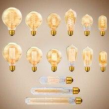 Vintage edison bulbo 220v e27 40w st64 g80 g95 ampola vintage retro edison lâmpada decoração de casa filamento lâmpada incandescente