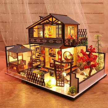 Hot 3D Wooden Dollhouses Ancient Town DIY Miniature Model Christmas Gifts Toys for Kids D6