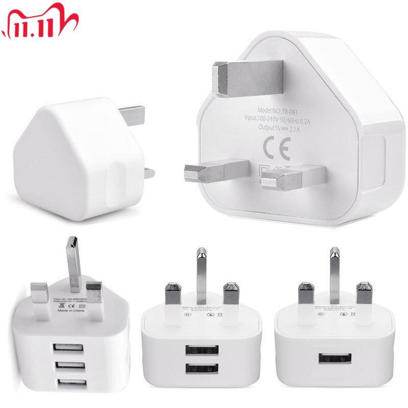 Universal 1/2/3-porto usb uk plug 3 pinos adaptador de carregador de parede com 1/2/3 portas usb carregador de viagem de carregamento para o telefone x samsung s9