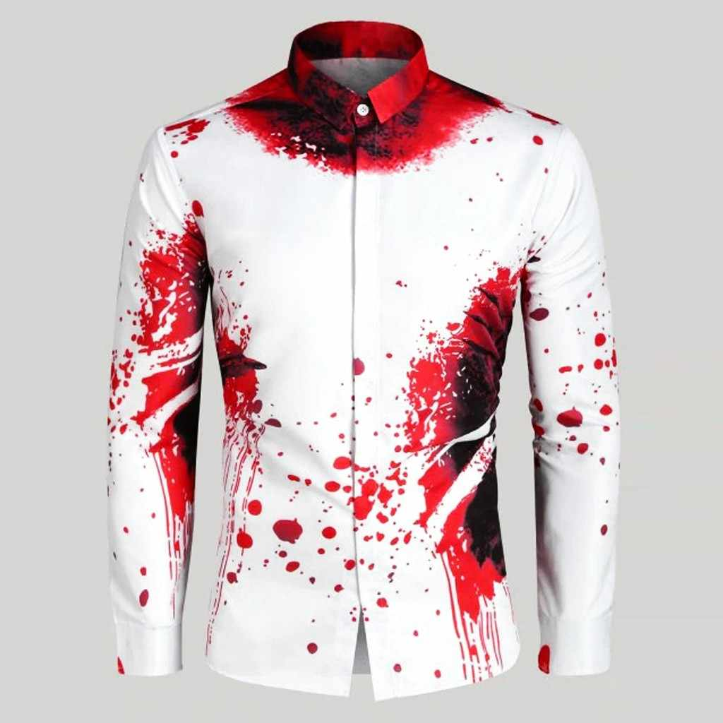 Hawaiian Shirt Long Sleeve 3D Splash Paint Print Summer Beach Casual Men Shirt Plus Size Hawaii Shirt S-XXL Camisa Masculina