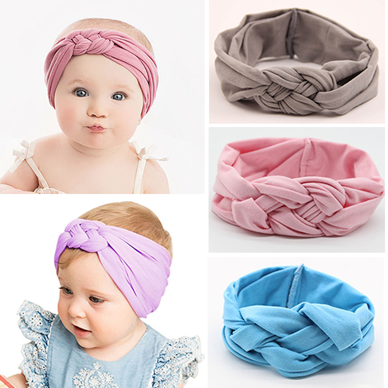 2019 Nylon Baby Headband For Girls Twisted Cross Head Wraps Hair Accessories Infant Newborn Girls Headbands Baby Bows Turban