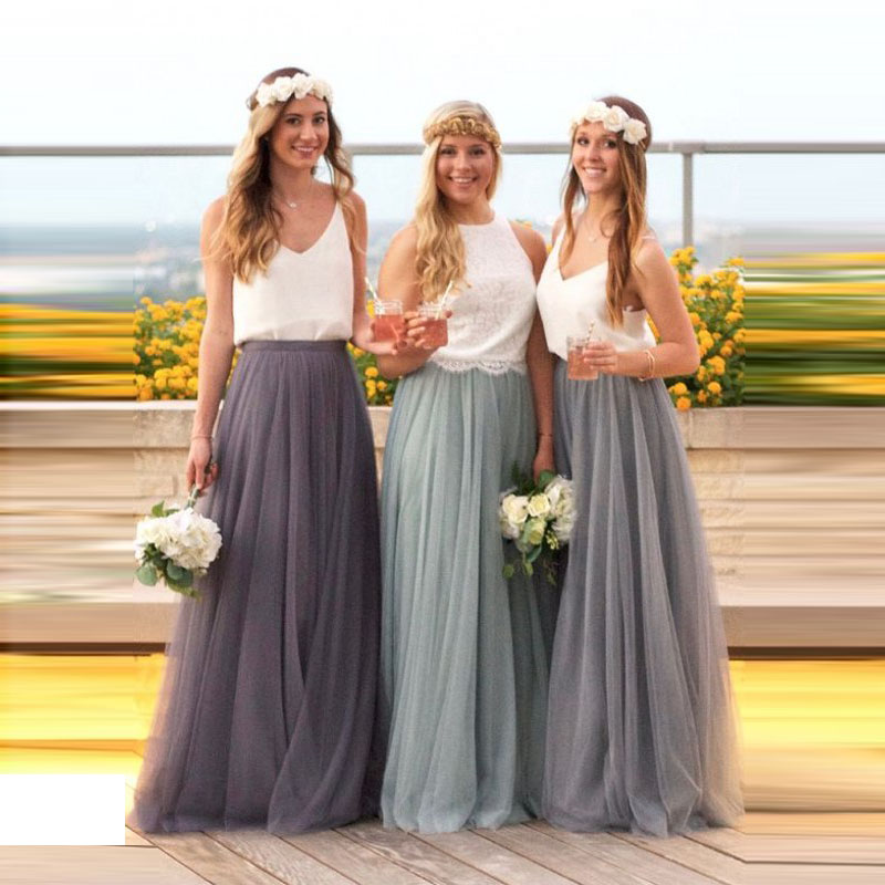 Long Tulle Bridesmaid Dress Candy Color Elegant Dress Women For Wedding Party  Junior Bridesmaid Dresses Plus Size