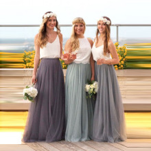 Long Tulle Bridesmaid Dress Candy Color Elegant Dre