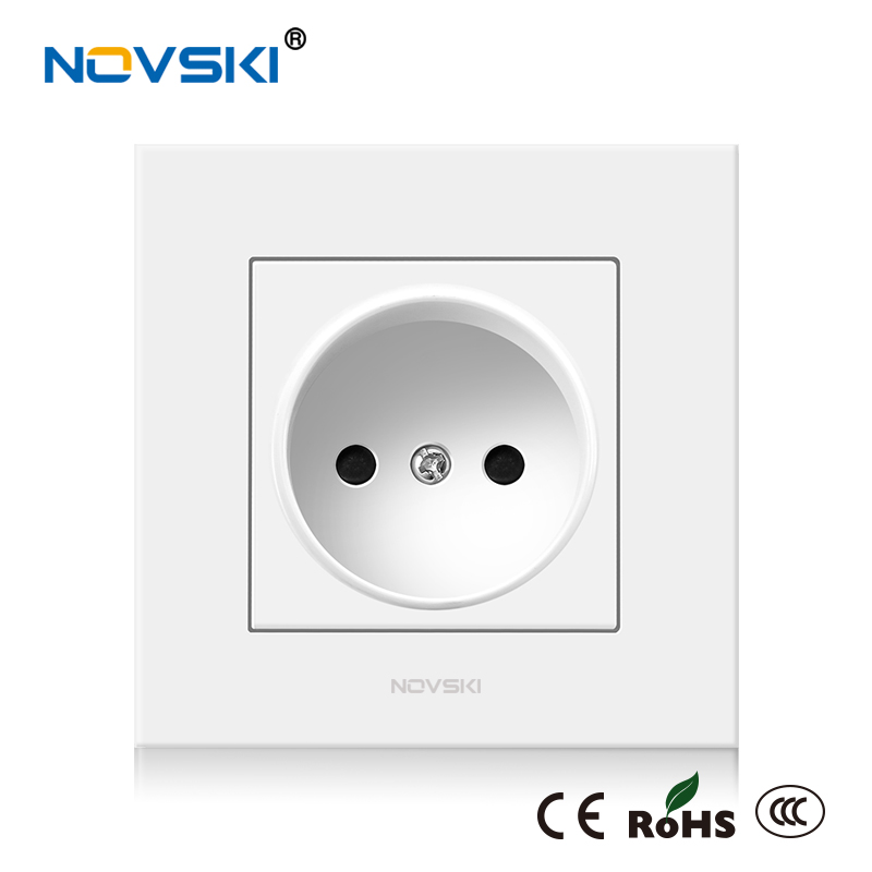 NOVSKI European Standard Switch Socket Electrical Wall Socket Grounded Mounting Box Power Socket 16A PC Plastic Panel 86 * 86 Mm