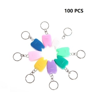 15mX100pcs Dental Floss Mint Flavor Teeth Cleaning Keyring Gift Oral Clinic Mini Portable Flosser Box Multicolors