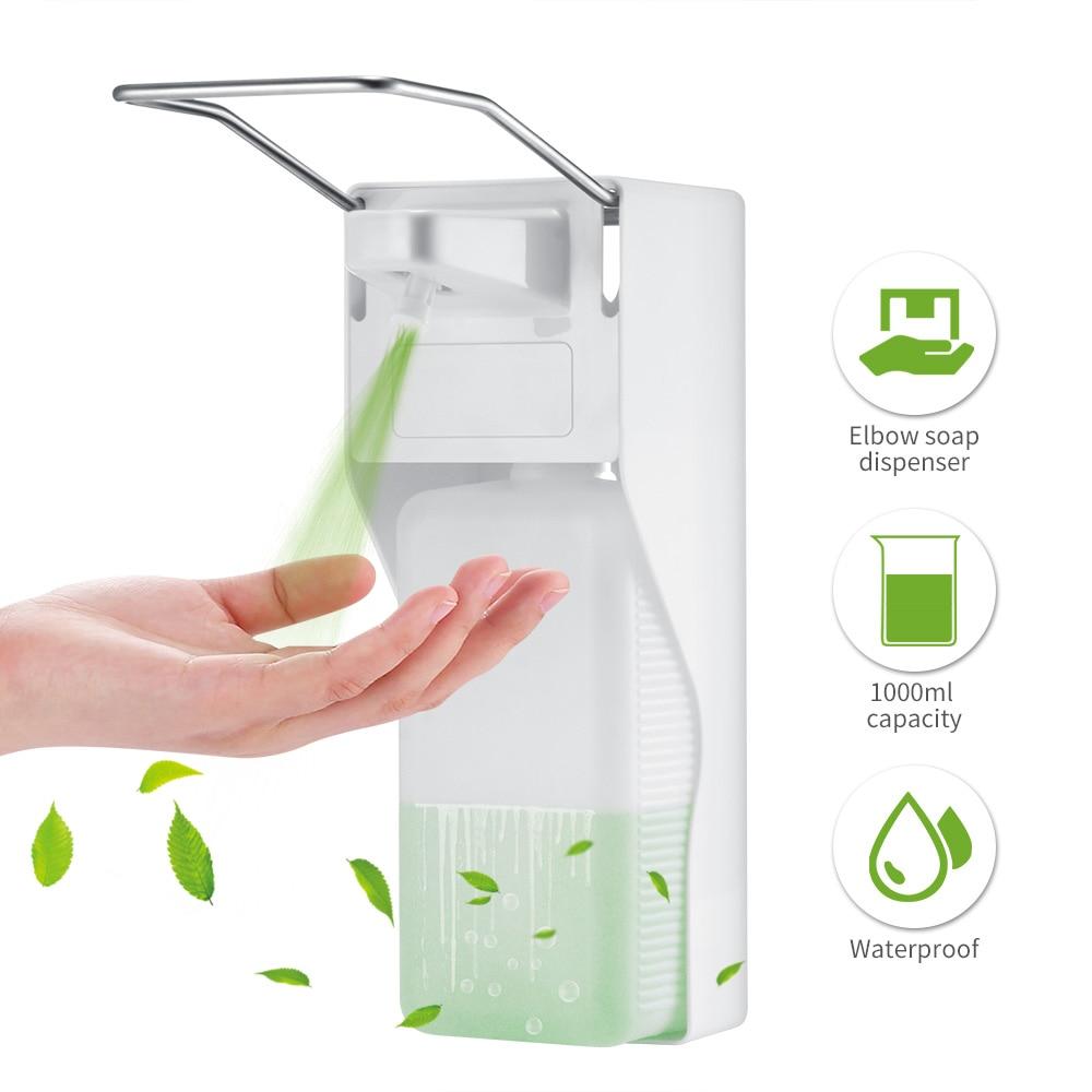 Image 3 - Distributeur manuel de savon en ABS  Pompe à savon à pression sur le coude, distributeur désinfectant mural pour la maison, hôpital, salle de bain, hôtel, 1000mlDistributeurs de savon liquide   -