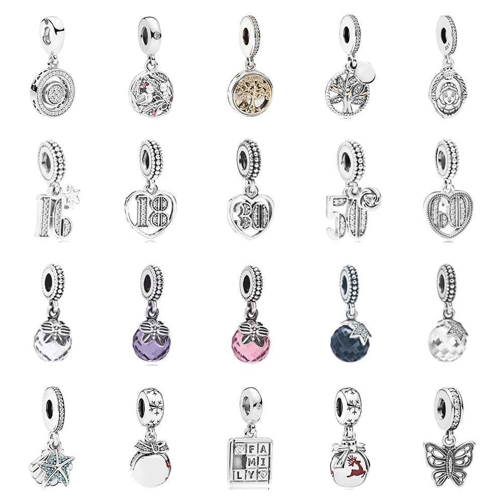 PDB  DZ  09   925 Silver 1:1 Jewelry Celebrate 30 Faces Family Heritage Two-Color Mirror Charm Heart Pendant