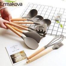 ERMAKOVA силиконовая кухонная утварь с деревянной ручкой с антипригарным шпателем ложка Тернер суп ковш венчик кухонные инструменты для приготовления пищи гаджет