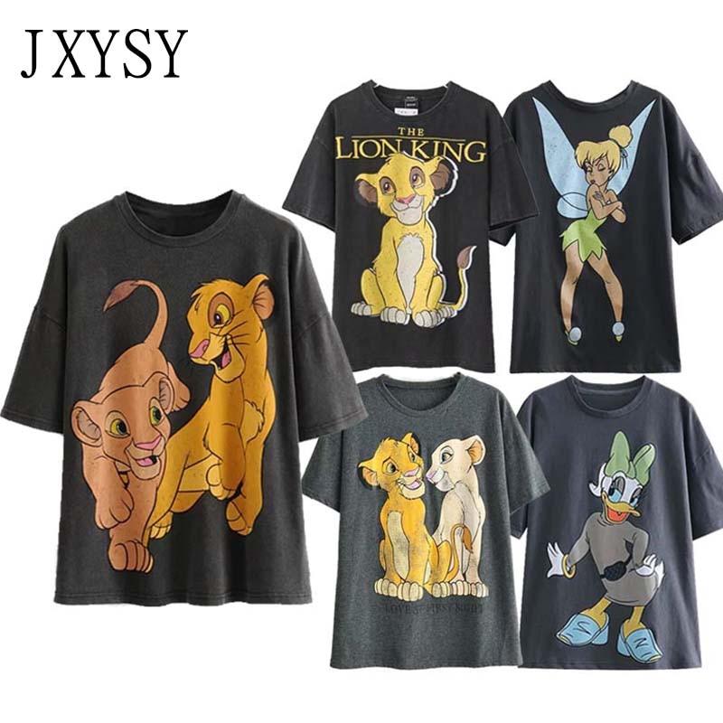 JXYSY Women T-shirt 2020 England Style Fashion Cartoon Lion King Print Tee Summer O-neck Short Sleeve T-shirt Female Tops