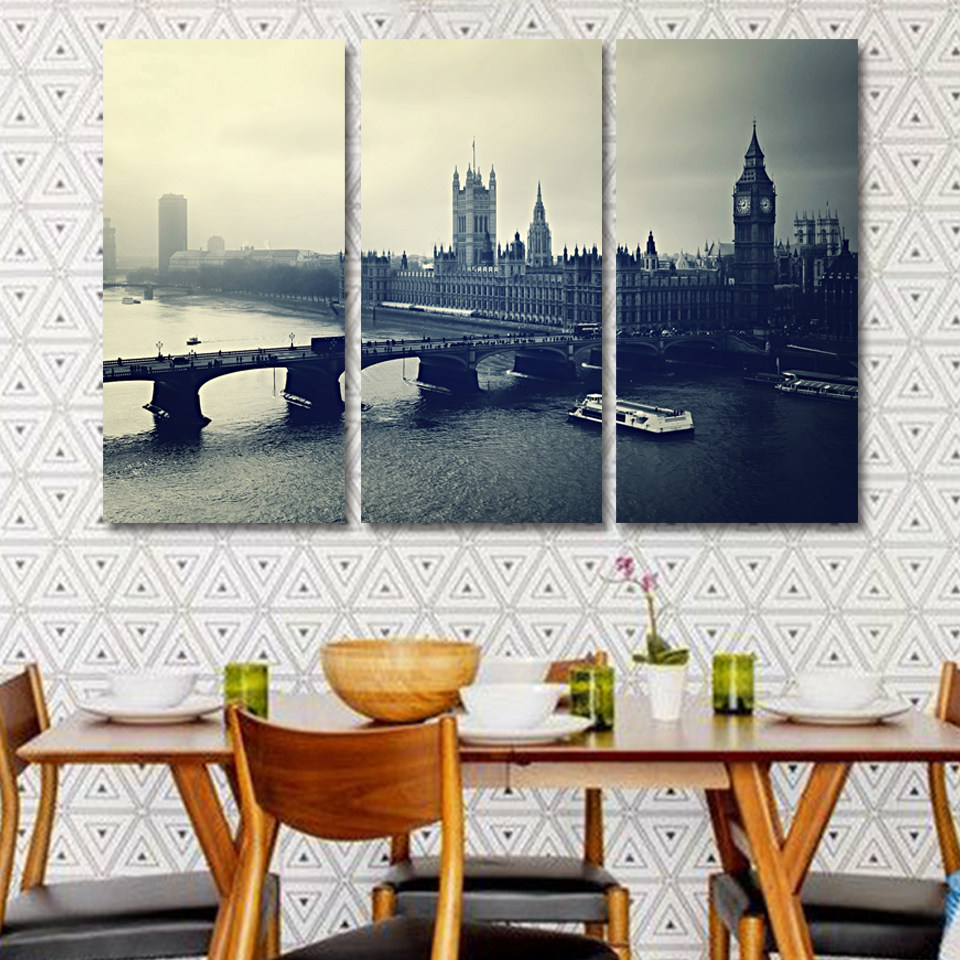 Black and white London city 3p KIT Canvas Painting Modern Home Decoration Living Room Bedroom Wall Decor Picture