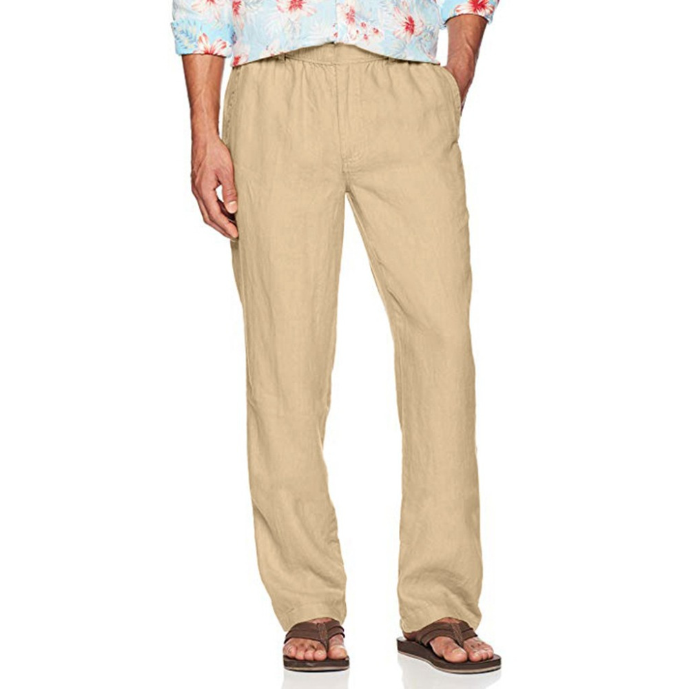 H6b33cc8585fa4184b88e9f52039318e8j Feitong Fashion Cotton Linen Pants Men Casual Work Solid White Elastic Waist Streetwear Long Pants Trousers