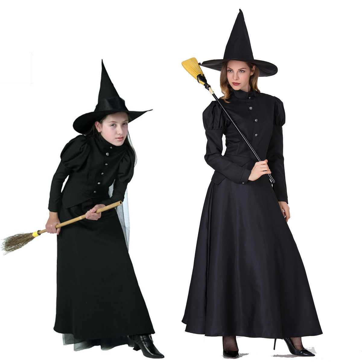 Halloween Length 2020 The 2020 Women Deluxe Wicked Witch Costume Black Full Length Dress