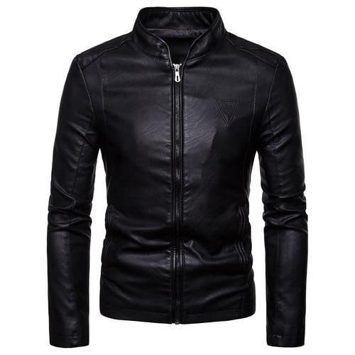 2019 Autumn New Men Leather Jackets Men's Korean Style Slim Collar PU Leather Jacket