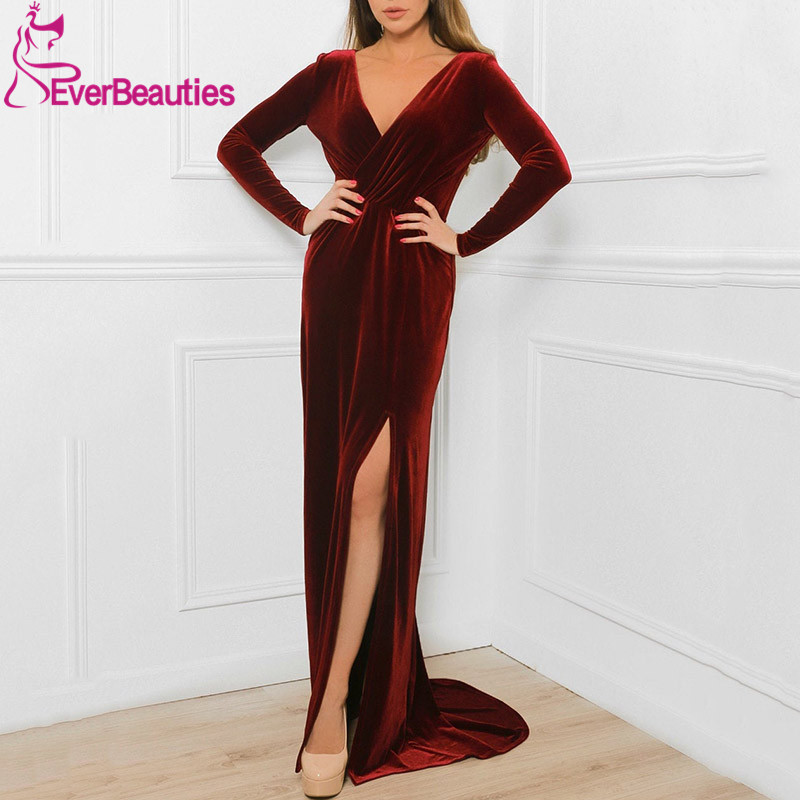 Mermaid Velour Bridesmaid Dresses Long 2020 Side Slit V-Neck Vestido De Festa Long Sleeves Robe Demoiselle D'Honneur