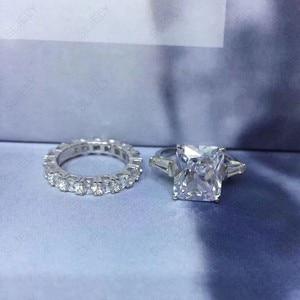 Image 2 - Sljely Echt 925 Sterling Zilveren Grote Zirconia Geel Wit Rechthoek Dubbele Ring Voor Vrouwen Wedding Engagement Party Sieraden