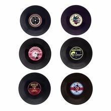 Creativo de plástico negro vinilo manteles de mesa Vintage Retro posavasos para taza casa decoración CD almohadillas de taza de regalo